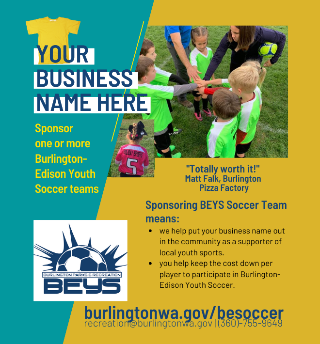 Call for 20 team sponsors 2021 Burlington-Edison Youth Soccer